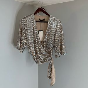 💋ZARA sequin silver wrap Blouse Top 👚